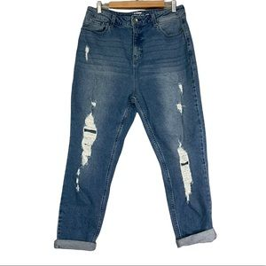 Hot Topic Denim Distressed Hi Rise Relaxed Fit Mom Jeans Sz 13